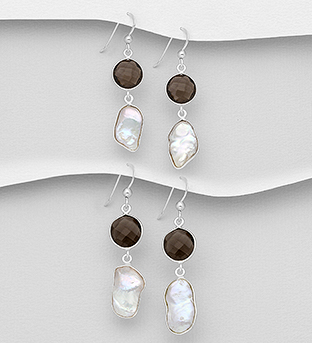 1851-356 - JEWELLED - 925 Sterling Silver Hook Earrings Decorated with Freshwater Pearls and Smoky Quartz. Handmade. Design, Shape and Size Will Vary.