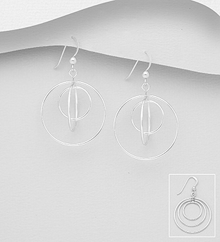 706-30614 - 925 Sterling Silver Gyroscope Hook Earrings