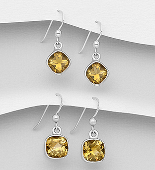 1851-370 - JEWELLED - 925 Sterling Silver Hook Earrings Decorated with Citrine. Handmade. Design, Shape and Size Will Vary.