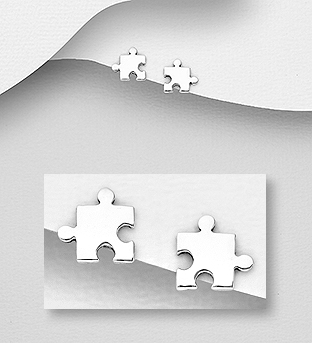 706-30662 - 925 Sterling Silver Jigsaw Puzzle Push-Back Earrings