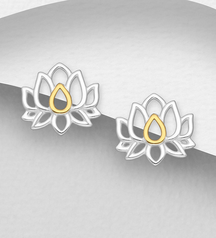 1063-2697 - 925 Sterling Silver Lotus Push-Back Earrings, Center Plated with 1 Micron 18K Yellow Gold