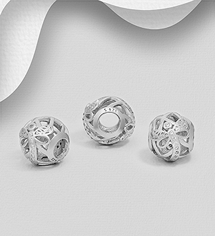 1559-526 - 925 Sterling Silver Dragonfly Bead Decorated with CZ Simulated Diamonds