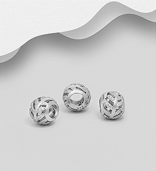 1559-528 - 925 Sterling Silver Leaf Bead Decorated with CZ Simulated Diamonds