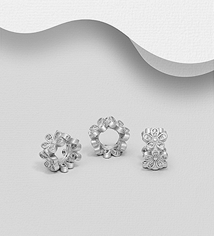 1559-529 - 925 Sterling Silver Flower Bead Decorated with CZ Simulated Diamonds