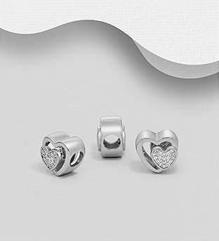 1559-530 - 925 Sterling Silver Heart Bead Decorated with CZ Simulated Diamonds