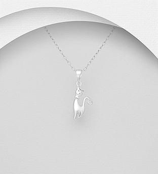 706-30784 - 925 Sterling Silver Cat Pendant