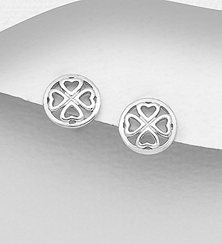 1076-292 - 925 Sterling Silver Round Clover Push-Back Earrings