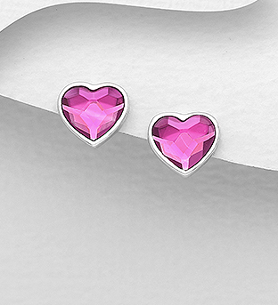 1583-444 - Sparkle by 7K - 925 Sterling Silver Heart Push-Back Earrings Decorated with Authentic Swarovski<sup>®</sup> Crystal