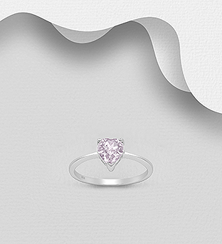 1583-445 - Sparkle by 7K - 925 Sterling Silver Heart Ring Decorated with Authentic Swarovski<sup>®</sup> Crystal