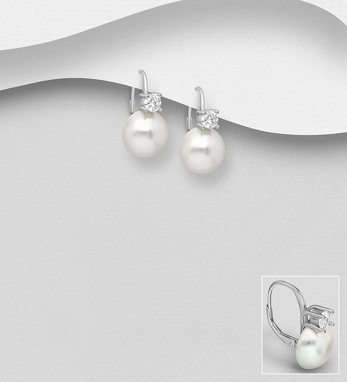 964-1033 - 925 Sterling Silver Lever Back Earrings Decorated with CZ Simulated Diamonds and Simulated Pearls