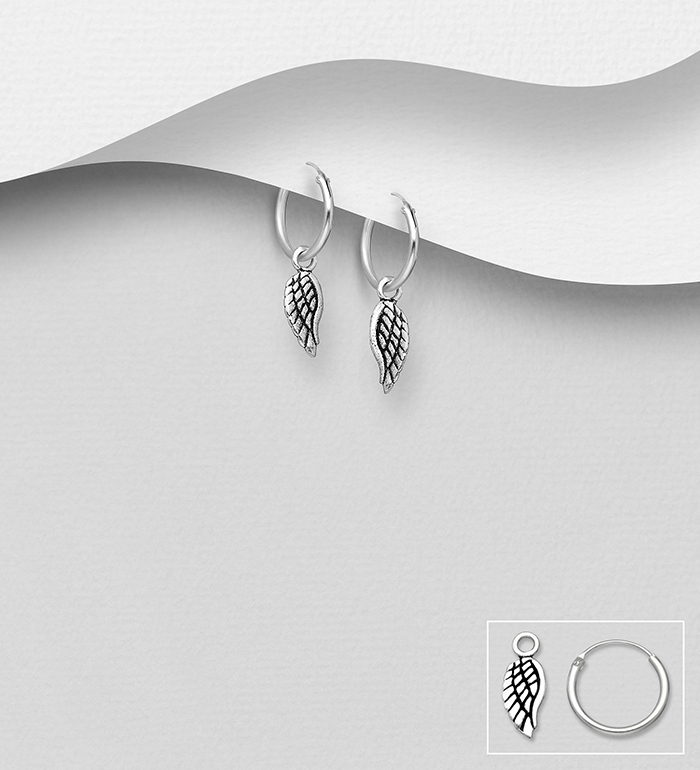 706-30841 - 925 Sterling Silver Hoop Earrings Featuring Oxidized Wing Charm