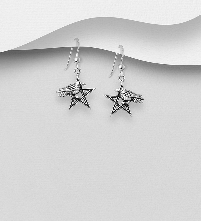 706-30860 - 925 Sterling Silver Oxidized Bird and Pentagram Star Hook Earrings