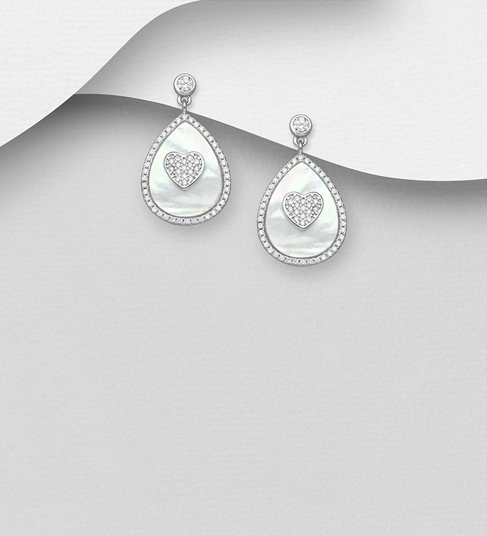 789-3953 - 925 Sterling Silver Push-Back Earrings Featuring Heart Decorated with CZ Simulated Diamonds and Pear Shape Shell