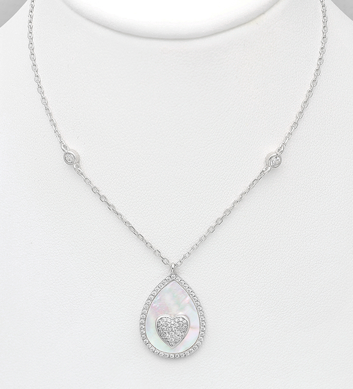 789-3954 - 925 Sterling Silver Necklace Featuring Heart Decorated with CZ Simulated Diamonds and Pear-Shaped Shell