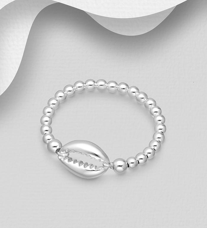 706-30911 - 925 Sterling Silver Ball Elastic Ring Featuring Shell