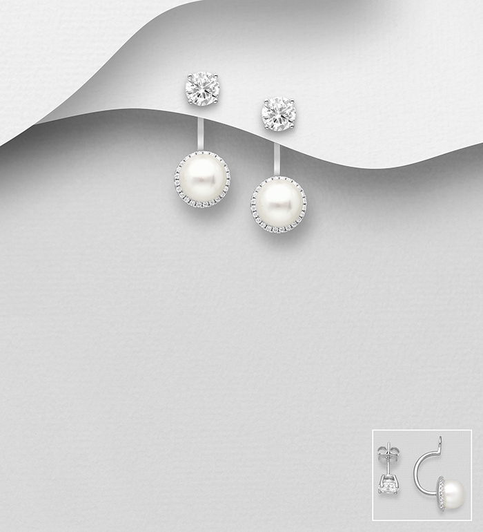 382-5422 - 925 Sterling Silver Jacket Halo Earrings Decorated with CZ Simulated Diamonds and Freshwater Pearls