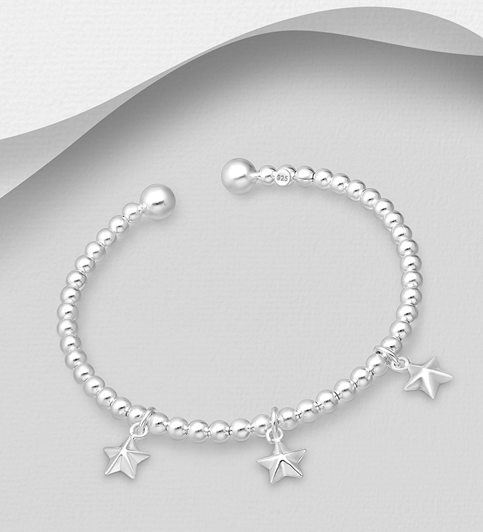 706-30976 - 925 Sterling Silver Ball Bead Cuff Featuring Star Charms