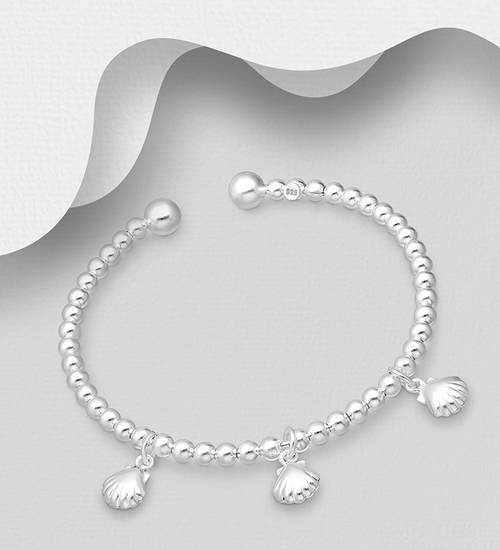 706-30978 - 925 Sterling Silver Ball Bead Cuff Featuring Shell Charms