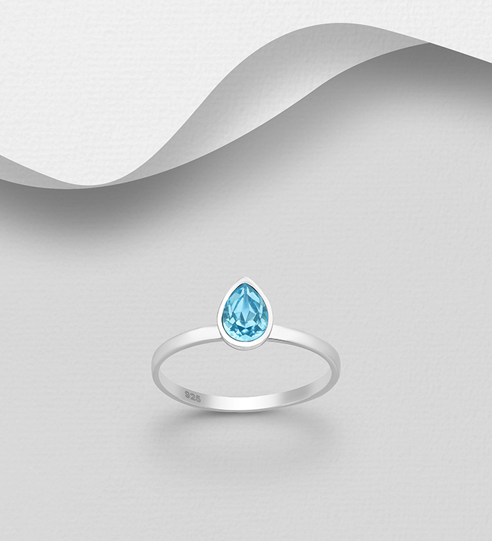 1583-449 - Sparkle by 7K - 925 Sterling Silver Ring Decorated with Pear-Shape Authentic Swarovski<sup>®</sup> Crystal
