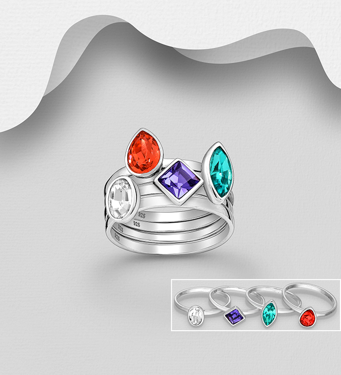 1583-460 - Sparkle by 7K - Set of 4 Each Unique Stack Rings, Made of 925 Sterling Silver, Decorated with Authentic Swarovski<sup>®</sup> Crystals