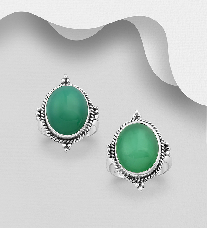 1851-381 - JEWELLED - 925 Sterling Silver Oxidized Ring Decorated with Chrysoprase. Handmade. Design, Shape and Size Will Vary.