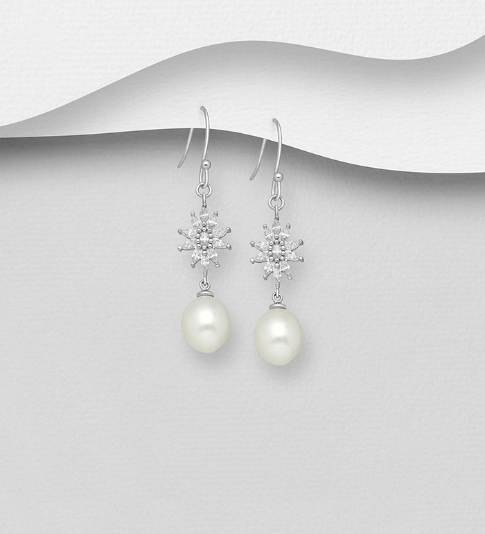 382-5434 - 925 Sterling Silver Hook Earrings Decorated with CZ Simulated Diamonds and Freshwater Pearls