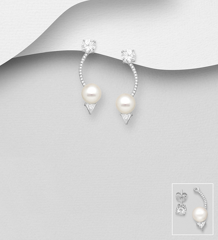 382-5439 - 925 Sterling Silver Jacket Earrings Decorated with CZ Simulated Diamonds and Freshwater Pearls