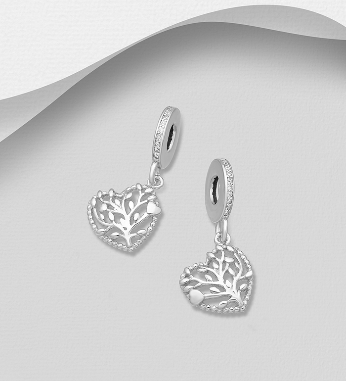 1559-531 - 925 Sterling Silver Heart and Tree of Life Bead-Charm Decorated with CZ Simulated Diamonds