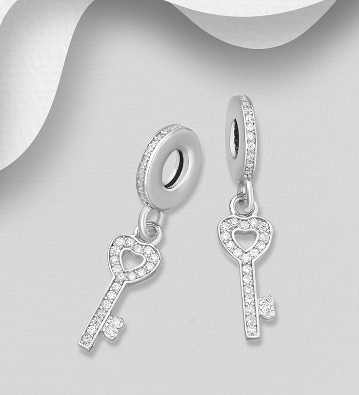 1559-532 - 925 Sterling Silver Key Bead-Charm Decorated with CZ Simulated Diamonds