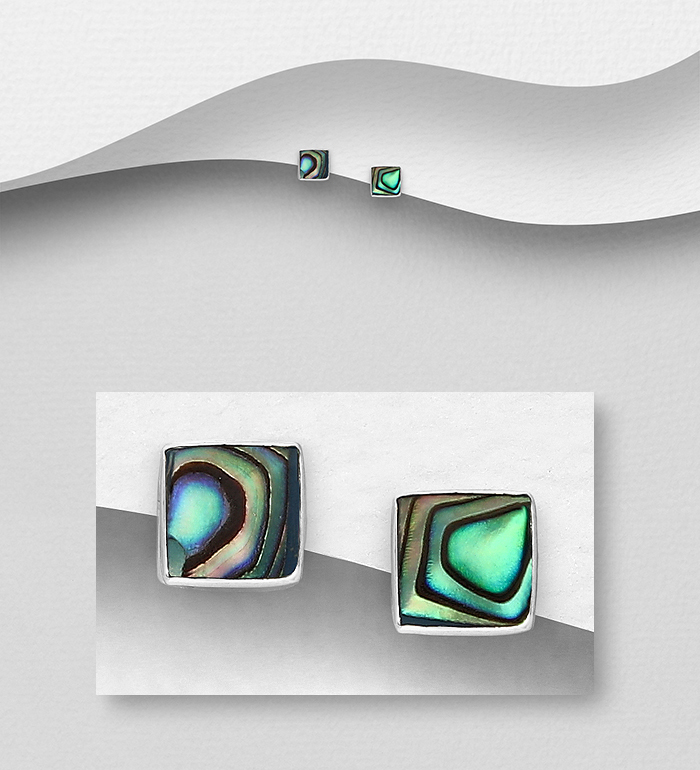 789-3966 - 925 Sterling Silver Push-Back Earrings Decorated with Square Shell