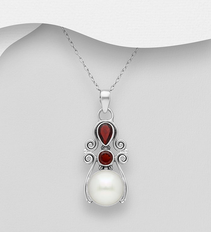 382-5457 - 925 Sterling Silver Swirl Pendant Decorated with Freshwater Pearl and Gemstones