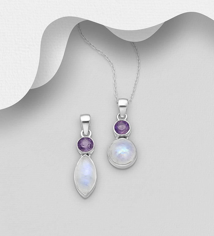 1851-397 - JEWELLED - 925 Sterling Silver Pendant Decorated with Amethyst and Rainbow Moonstone. Handmade. Design, Shape and Size Will Vary.