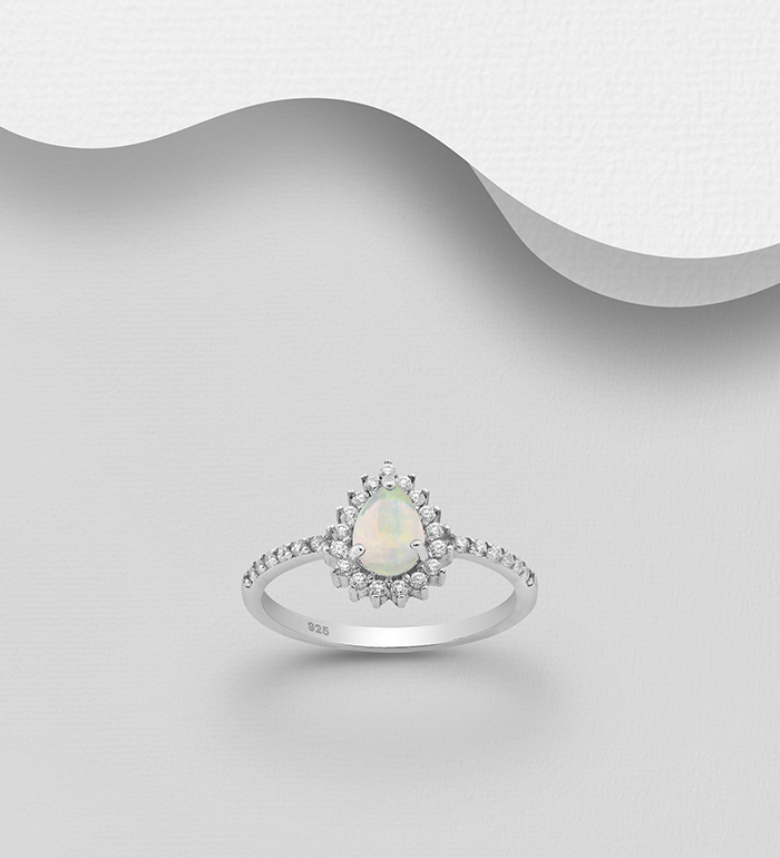 1181-3656 - La Preciada - 925 Sterling Silver Halo Ring Decorated with Pear Shape-Opal and CZ Simulated Diamonds