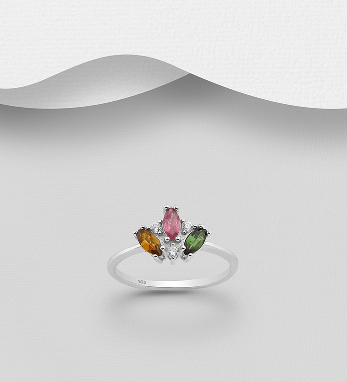 1181-3671 - La Preciada - 925 Sterling Silver Ring Decorated with Tourmaline and CZ Simulated Diamonds. Colors may Vary.