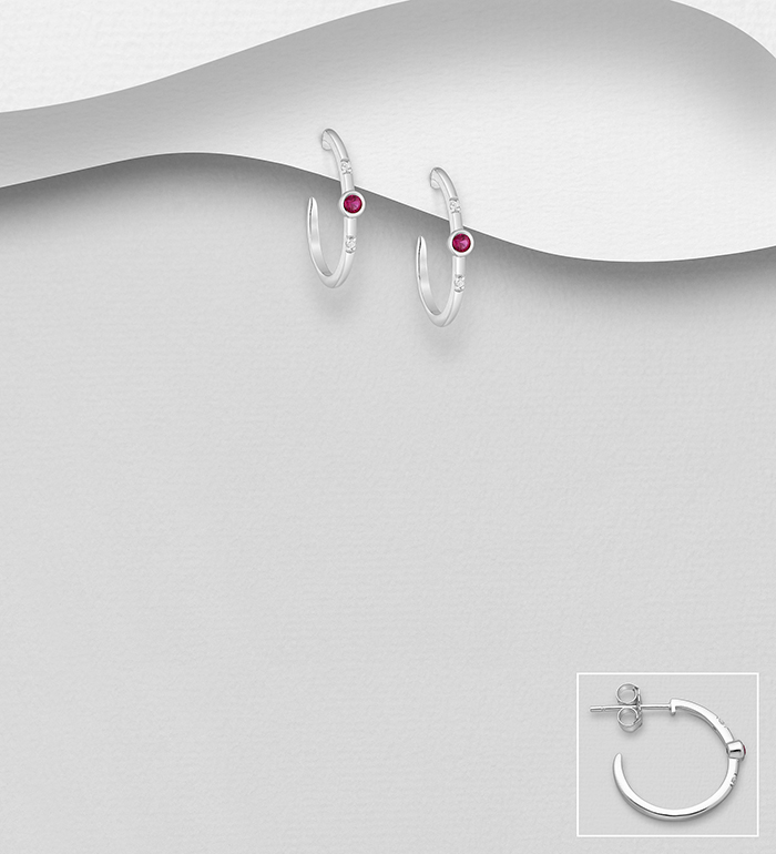 701-24012 - 925 Sterling Silver Hoop Push-Back Earrings Decorated with CZ Simulated Diamonds