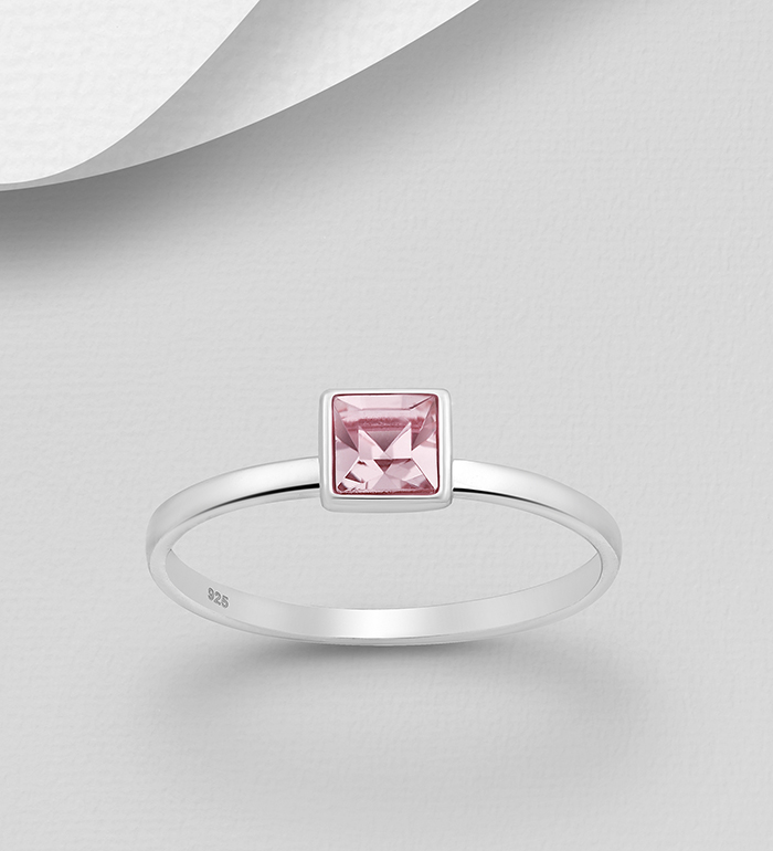 1583-464 - Sparkle by 7K - 925 Sterling Silver Square Ring Decorated with Authentic Swarovski<sup>®</sup> Crystal