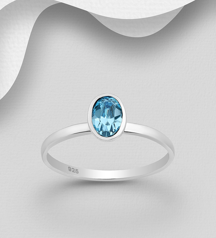1583-446 - Sparkle by 7K - 925 Sterling Silver Oval Ring Decorated with Authentic Swarovski<sup>®</sup> Crystal