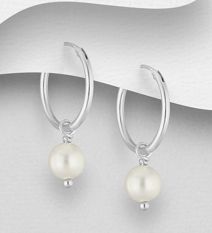 382-5466 - 925 Sterling Silver Hoop Earrings Decorated with Freshwater Pearls