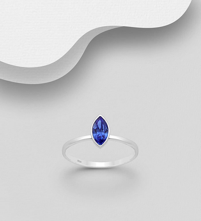 1583-448 - Sparkle by 7K - 925 Sterling Silver Oval Ring Decorated with Authentic Swarovski<sup>®</sup> Crystal