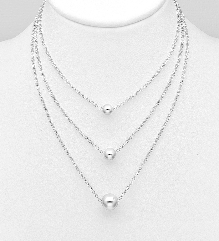 706-31152 - 925 Sterling Silver Layered Ball Necklace