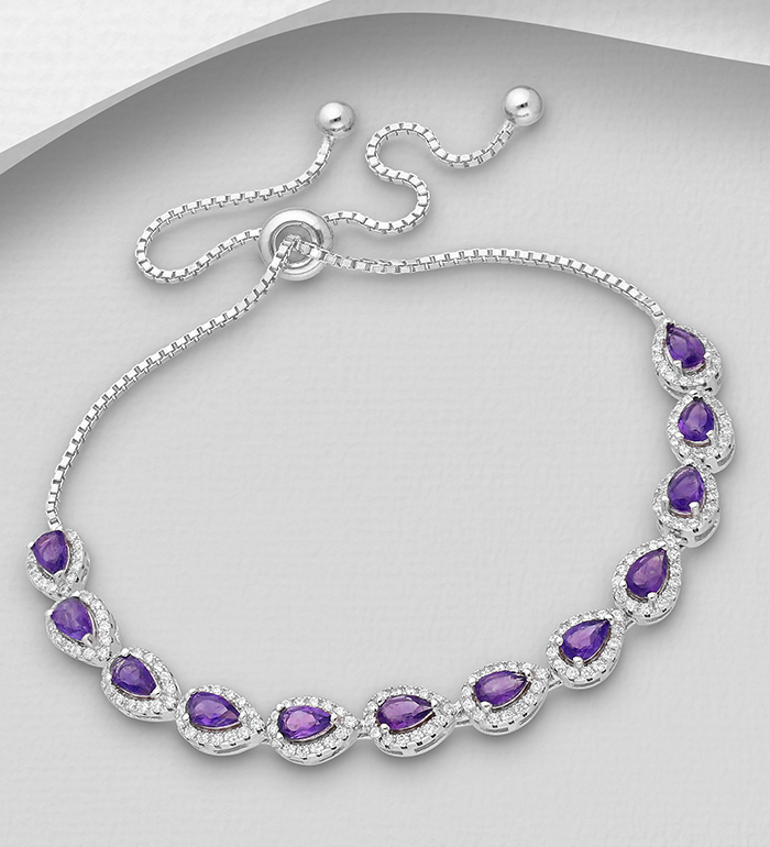 1181-3687 - La Preciada - 925 Sterling Silver Bracelet, Decorated with CZ Simulated Diamonds and Various Gemstones