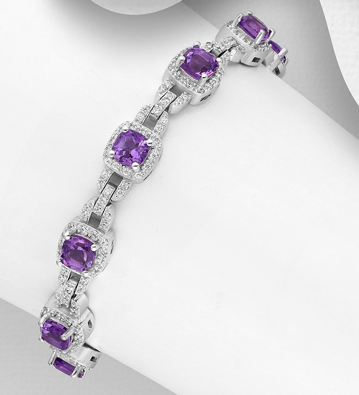 1181-3689 - La Preciada - 925 Sterling Silver Bracelet CZ Simulated Diamonds and Gemstones