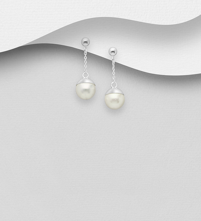 964-1039 - 925 Sterling Silver Push-Back Earrings Decorated With Reconstructed Shell