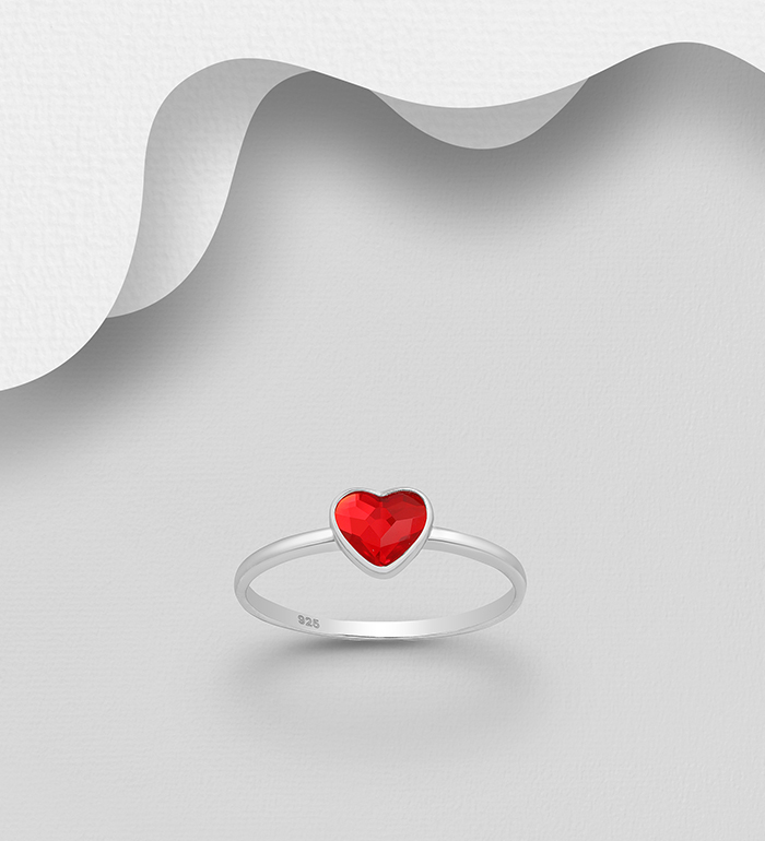 1583-468 - Sparkle by 7K - 925 Sterling Silver Heart Ring Decorated with Authentic Swarovski<sup>®</sup> Crystal