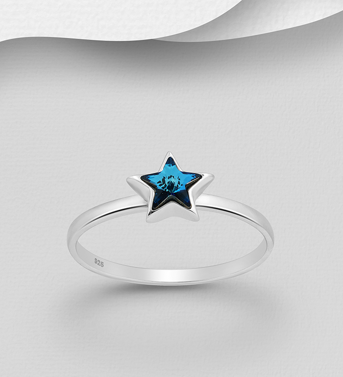 1583-469 - Sparkle by 7K - 925 Sterling Silver Star Ring Decorated with Authentic Swarovski<sup>®</sup> Crystal