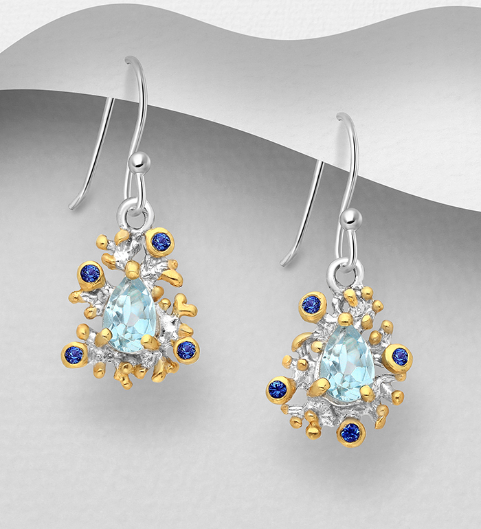 1916-12 - ADIORE JEWELS - 925 Sterling Silver Hook Earrings Decorated with Blue Sapphires and Sky-Blue Topaz, Plated with 3 Micron 22K Yellow Gold and White Rhodium