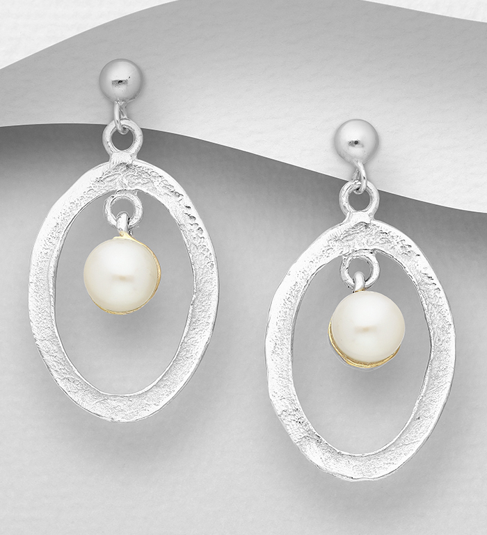 1916-11 - ADIORE JEWELS - 925 Sterling Silver Push-Back Oval Earrings Decorated with Freshwater Pearls, Plated with 3 Micron 22K Yellow Gold and White Rhodium