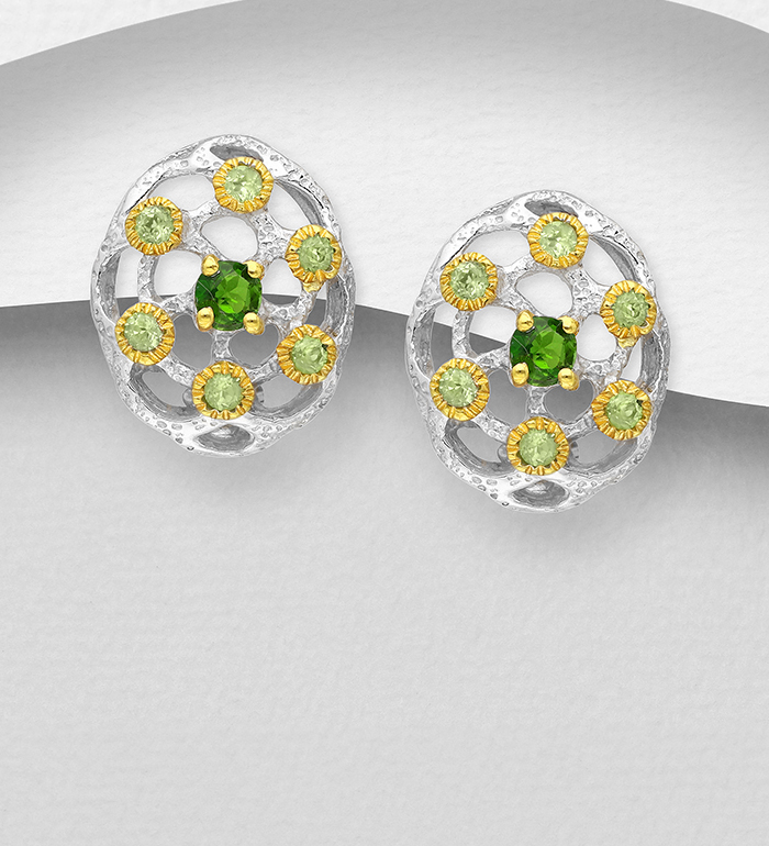 1916-14 - ADIORE JEWELS - 925 Sterling Silver Omega Lock Earrings Decorated with Chrome Diopside and Peridots, Plated with 3 Micron 22K Yellow Gold and White Rhodium