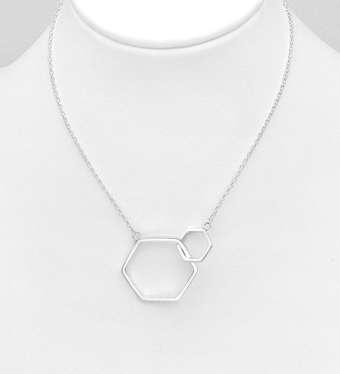 706-31211 - 925 Sterling Silver Hexagon Links Necklace