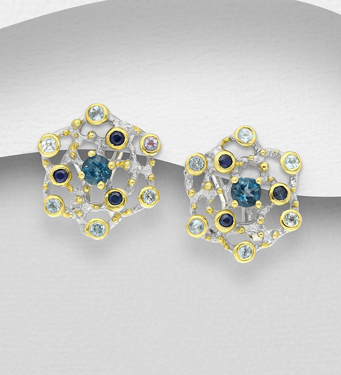 1916-21 - ADIORE JEWELS - 925 Sterling Silver Omega Lock Earrings Decorated with Blue Sapphires and London Blue Topaz, Plated with 3 Micron 22K Yellow Gold and White Rhodium